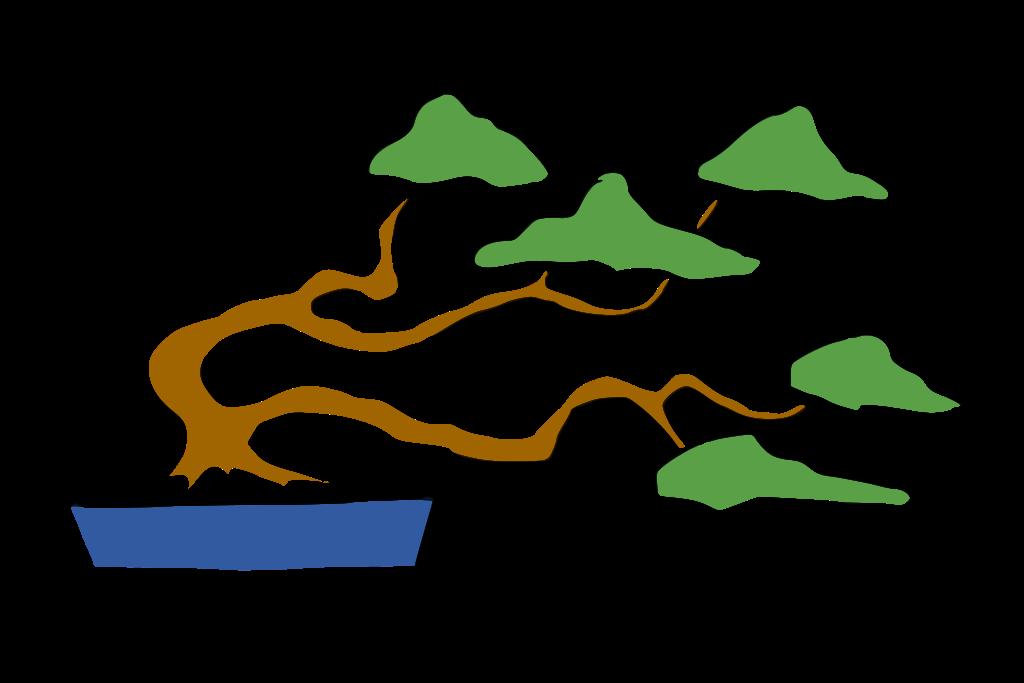 dibujo bonsái fukinagashi estilo barrido por el viento