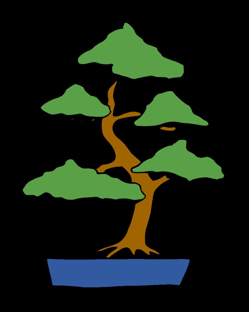 dibujo bonsái moyogi estilo vertical informal