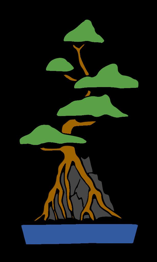 dibujo bonsái sekijoju estilo abrazado a una roca